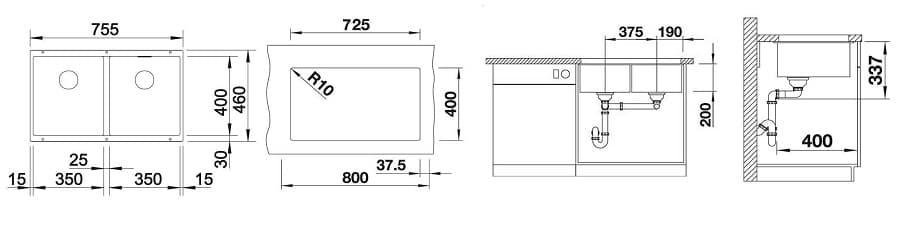 medidas fregadero cocina 2 senos Blanco Subline 350350-U